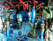 Steam engine with pipes, tubes, and gauges — Stock Photo