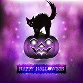 Scary cat in purple background — Wektor stockowy