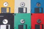 Colored plastic floppy disc background — Stok fotoğraf
