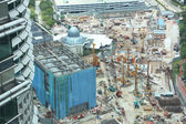 Growning city KL, the close up of reconstruction area in the central part of Kuala Lumpur — Stock Photo