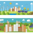 Set of environment and ecology banners. Green energy and pollution. — Stock Vector #55498531