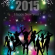 Happy new year 2015. Party background. Dancing people. — Stock Vector #55498719