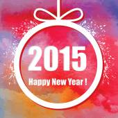 Happy New Year 2015. Creative greeting card with watercolor effect — 图库矢量图片