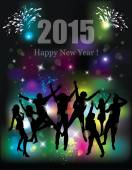 Happy new year 2015. Party background. Dancing people. — Vector de stock