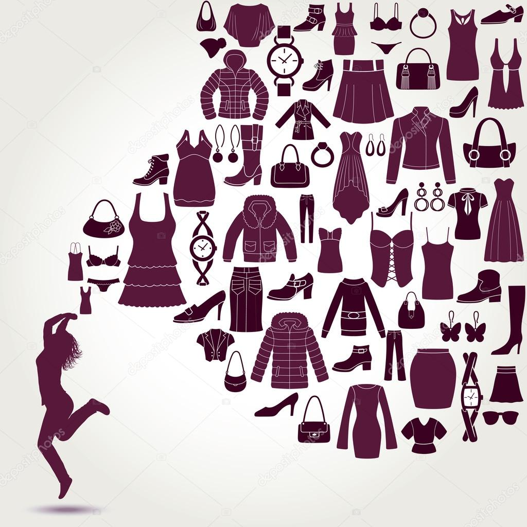 womens fashion background clothing and accessories icons