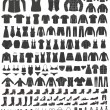 Set of 155 icons: clothing, shoes and accessories. Women's and Men's fashion. — Stock Vector #58972343