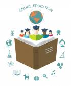 Online education. Conceptual background with flat icons. — Vettoriale Stock