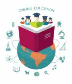 Online education. Conceptual banner with flat icons and design elements. — Vettoriale Stock