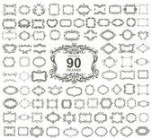 Set of 90 vintage floral frames. VECTOR. — Stock Vector