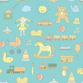 Modello senza cuciture variopinto, giocattoli infantili. — Vettoriale Stock