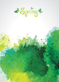 Abstract Green Watercolor Background for Spring. — Stock Vector