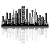 Urban vector architecture. Metropolis on the river. — Stock Vector