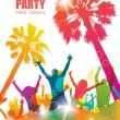 Party background with happy young people. Colorful tropical banner. — Stock Vector #73749621