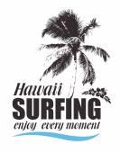 Impresión tropical con palmeras e hibiscos para la camiseta. Bandera hawaiana para el surf. — Vector de stock