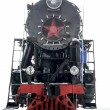 Retro steam locomotive on a white background black and red winter with a star — Stock Photo #56480515