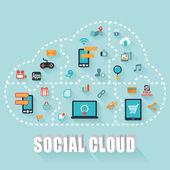 Nube social — Foto de Stock