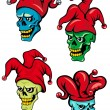 Cartoon clown and joker skulls — Stock Vector #51879285
