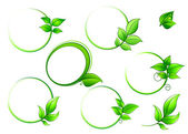 Frames set with geen leaves — Stock Vector