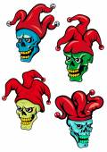 Cartoon clown and joker skulls — Stock Vector