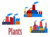 Flat factories and plants icons — Stock Vector