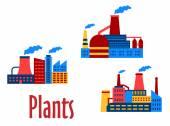 平的工厂和设备图标 — 图库矢量图片