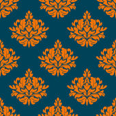 Floral seamless pattern with orange on indigo — Stock Vector