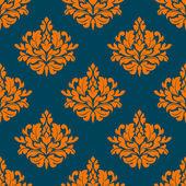 Nahtlose Blümchenmuster mit Orange auf indigo — Stockvektor