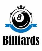 Billiards and pool emblem — Stock Vector