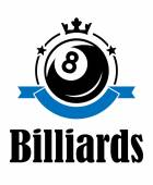 Billiards and pool emblem — Stock Vector