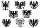 Heraldic royal medieval eagles — Stock Vector