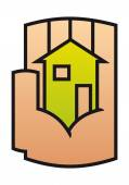 Home icon protected in a stylized hand — Stock Vector