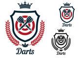Darts emblems or signs set — Stockvektor