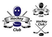 Ice hockey emblems and symbols — Stock Vector