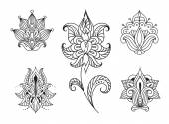 Persian floral paisley embellishments — Stock Vector