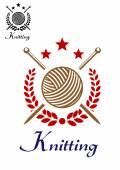 Hand knitting emblem — Stock Vector