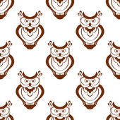 Cartoon owlet seamless pattern — Stock Vector
