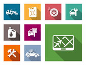 Car service flat icons set — Stock Vector