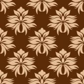 Floral beige on brown damask seamless pattern — Stock Vector