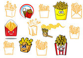Cartoon french fries takeaway food designs — Stock Vector