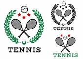 Tennis sporting emblems and symbols — Stock Vector