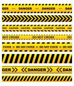 Yellow warning tapes set — Stock Vector