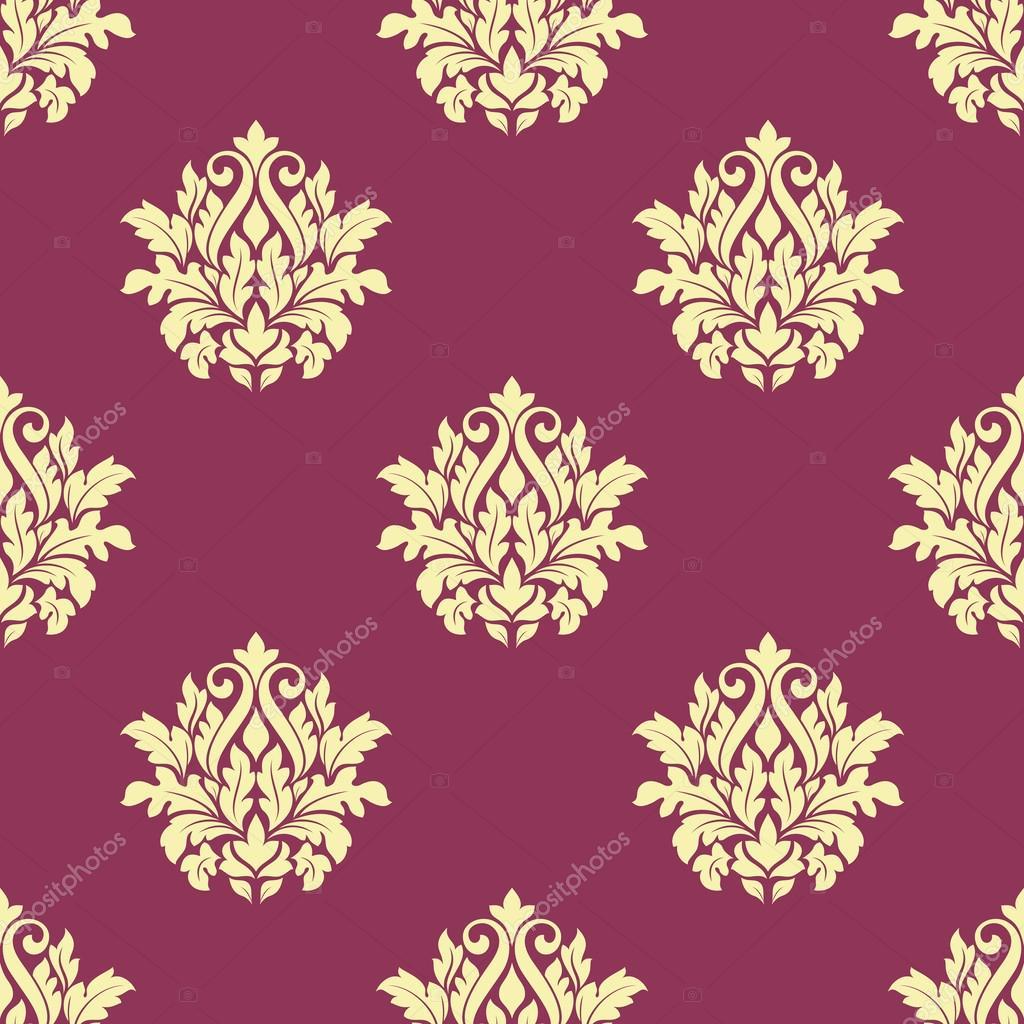 无缝的黄色花纹织锦缎槽体上深红色或紫色的壁纸和