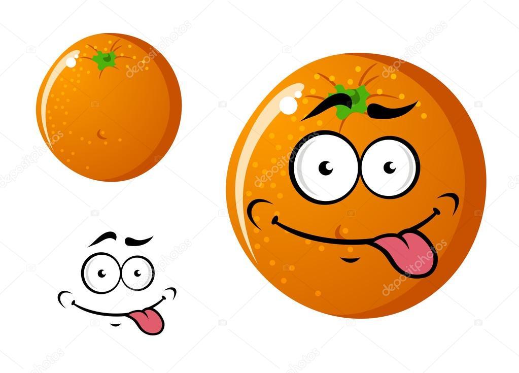 Feliz Sonriente Fruta Naranja Dibujos Animados