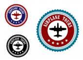 Aviation symbol with airplane — Stok Vektör