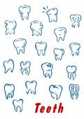 Teeth outline icons set — Wektor stockowy