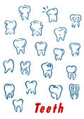 Teeth outline icons set — Stock Vector