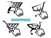 Shopping cart and retail business icons set — Stock Vector