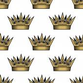 Seamless pattern of golden royal crowns — Stock Vector