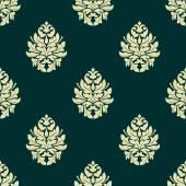 Floral light green damask seamless pattern — Stock Vector