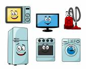 Cartoon household appliances set  — Stock Vector